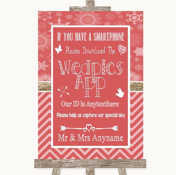Red Winter Wedpics App Photos Personalised Wedding Sign