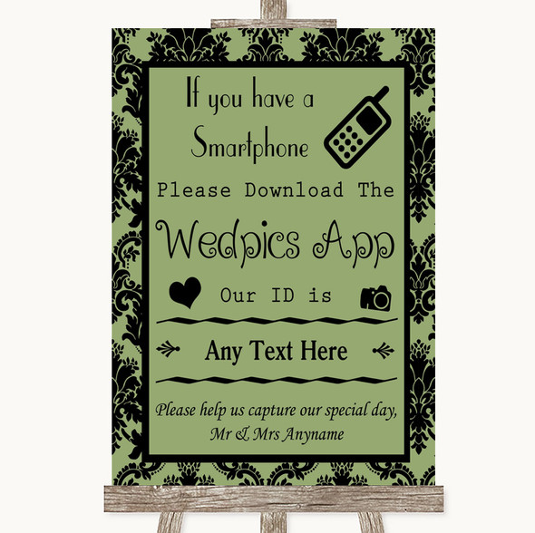 Sage Green Damask Wedpics App Photos Personalised Wedding Sign