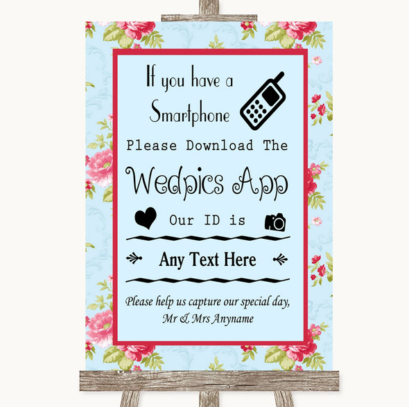 Shabby Chic Floral Wedpics App Photos Personalised Wedding Sign