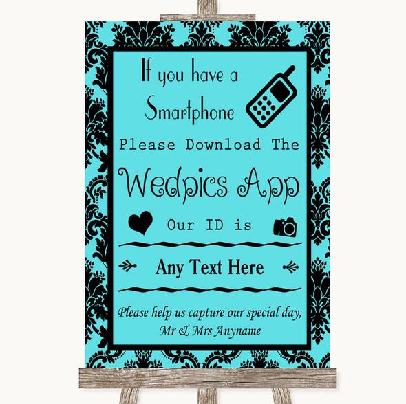 Tiffany Blue Damask Wedpics App Photos Personalised Wedding Sign
