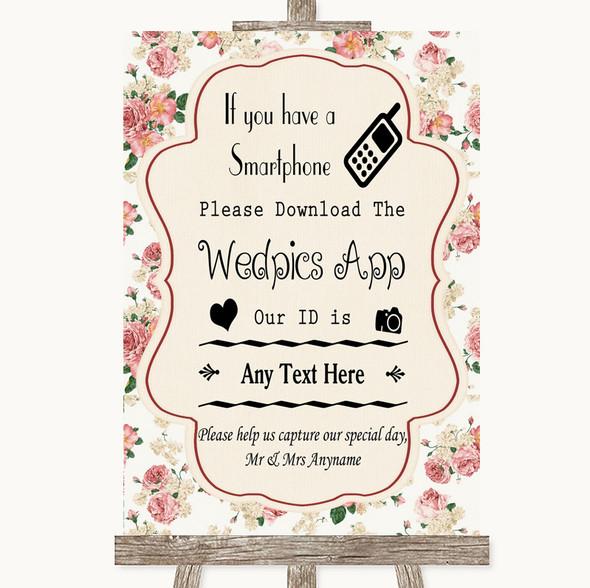 Vintage Roses Wedpics App Photos Personalised Wedding Sign