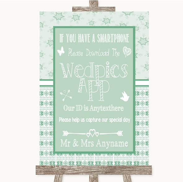 Winter Green Wedpics App Photos Personalised Wedding Sign