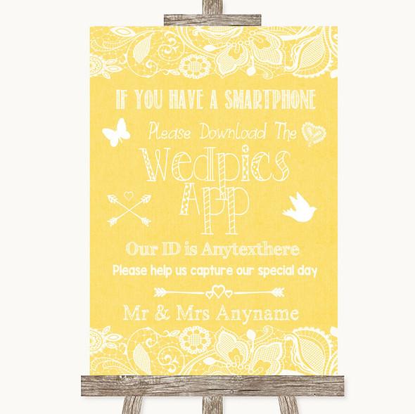 Yellow Burlap & Lace Wedpics App Photos Personalised Wedding Sign