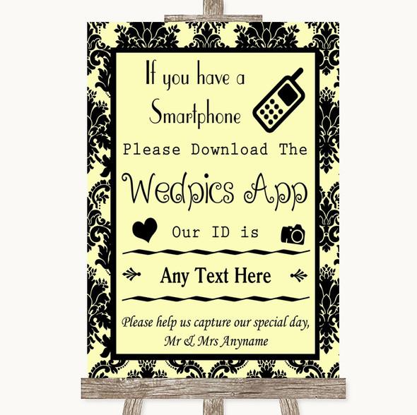 Yellow Damask Wedpics App Photos Personalised Wedding Sign