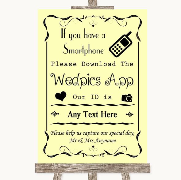 Yellow Wedpics App Photos Personalised Wedding Sign