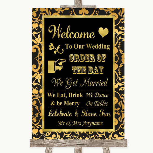 Black & Gold Damask Welcome Order Of The Day Personalised Wedding Sign