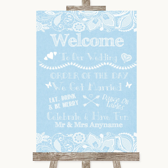 Blue Burlap & Lace Welcome Order Of The Day Personalised Wedding Sign
