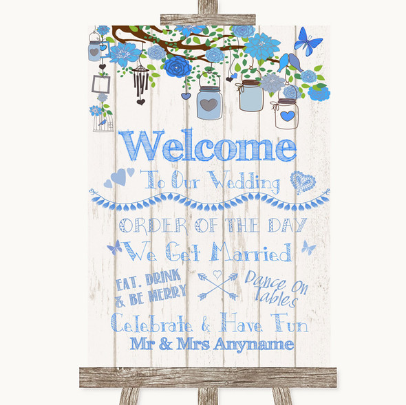 Blue Rustic Wood Welcome Order Of The Day Personalised Wedding Sign