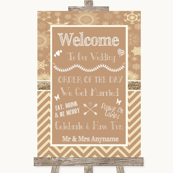 Brown Winter Welcome Order Of The Day Personalised Wedding Sign