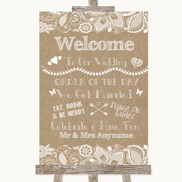 Burlap & Lace Welcome Order Of The Day Personalised Wedding Sign