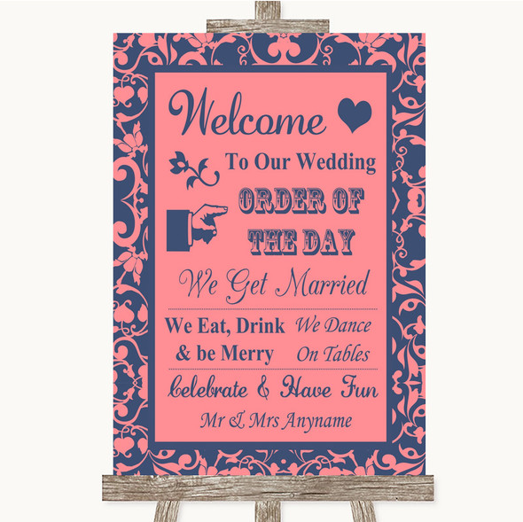 Coral Pink & Blue Welcome Order Of The Day Personalised Wedding Sign