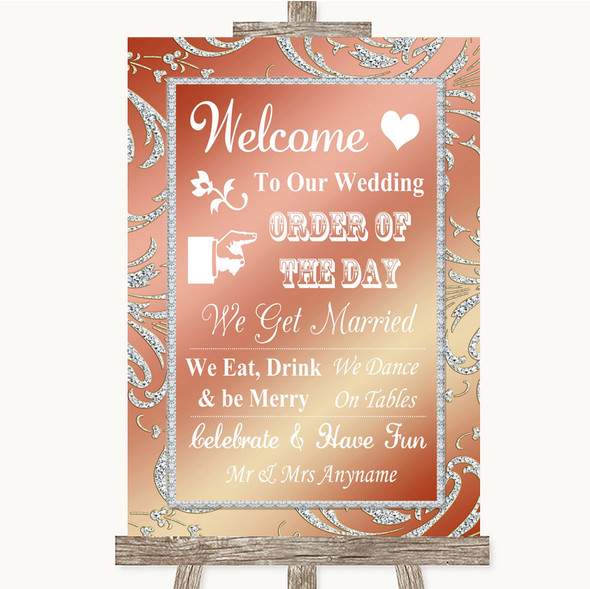 Coral Pink Welcome Order Of The Day Personalised Wedding Sign