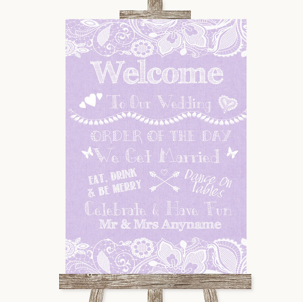 Lilac Burlap & Lace Welcome Order Of The Day Personalised Wedding Sign