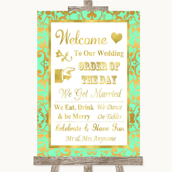 Mint Green & Gold Welcome Order Of The Day Personalised Wedding Sign