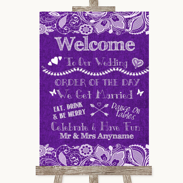 Purple Burlap & Lace Welcome Order Of The Day Personalised Wedding Sign