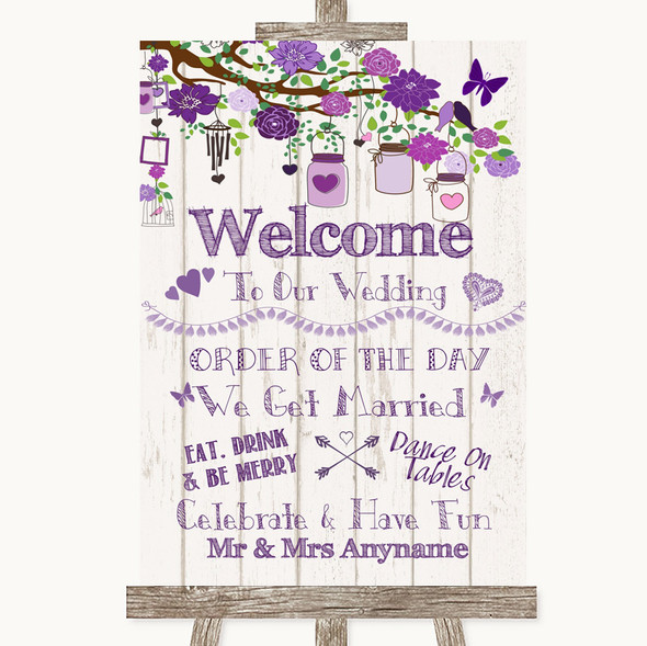 Purple Rustic Wood Welcome Order Of The Day Personalised Wedding Sign
