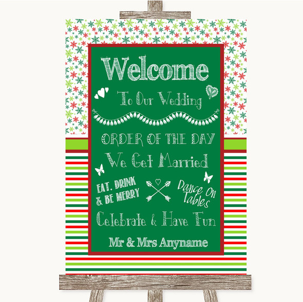 Red & Green Winter Welcome Order Of The Day Personalised Wedding Sign