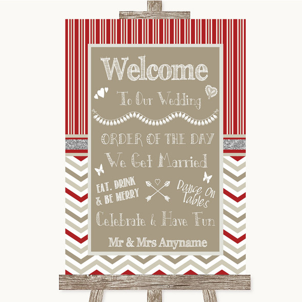 Red & Grey Winter Welcome Order Of The Day Personalised Wedding Sign