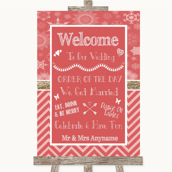 Red Winter Welcome Order Of The Day Personalised Wedding Sign