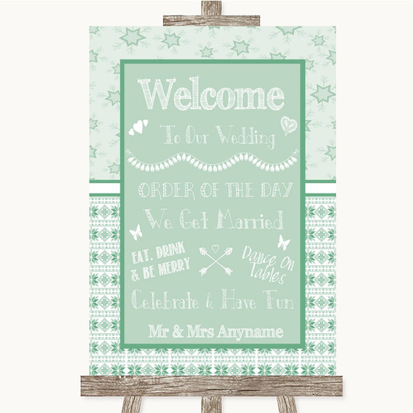 Winter Green Welcome Order Of The Day Personalised Wedding Sign