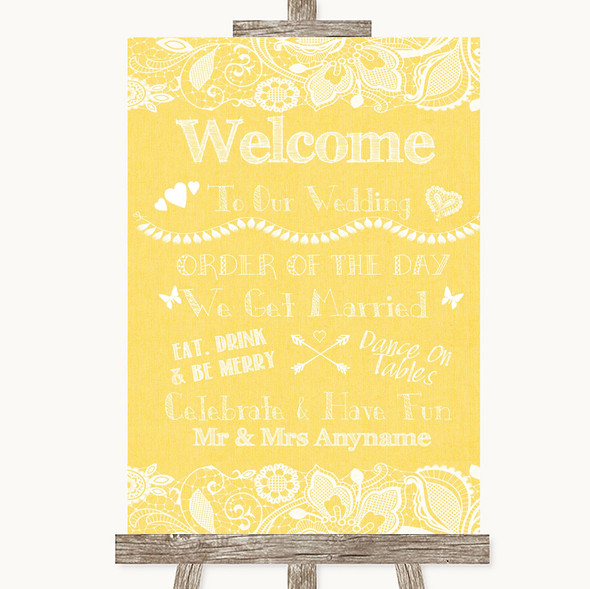 Yellow Burlap & Lace Welcome Order Of The Day Personalised Wedding Sign