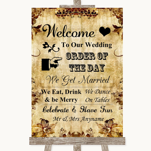 Autumn Vintage Welcome Order Of The Day Personalised Wedding Sign