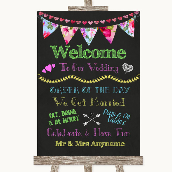 Bright Bunting Chalk Welcome Order Of The Day Personalised Wedding Sign