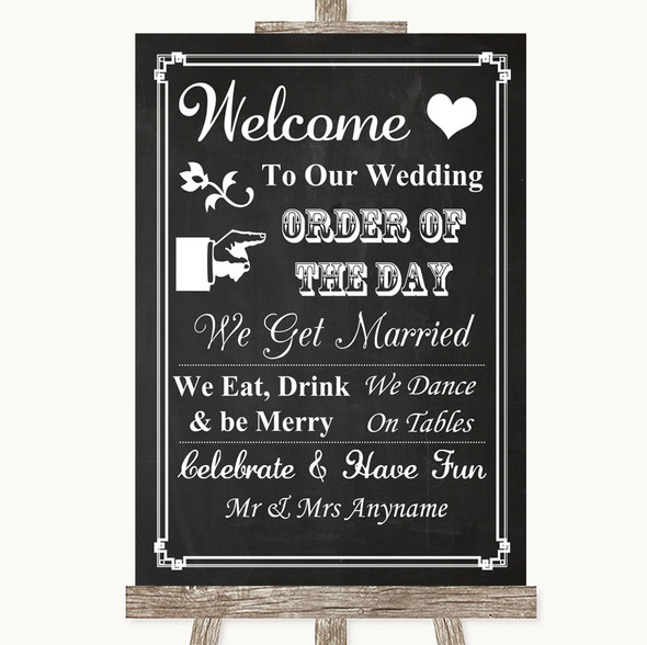 Chalk Style Welcome Order Of The Day Personalised Wedding Sign