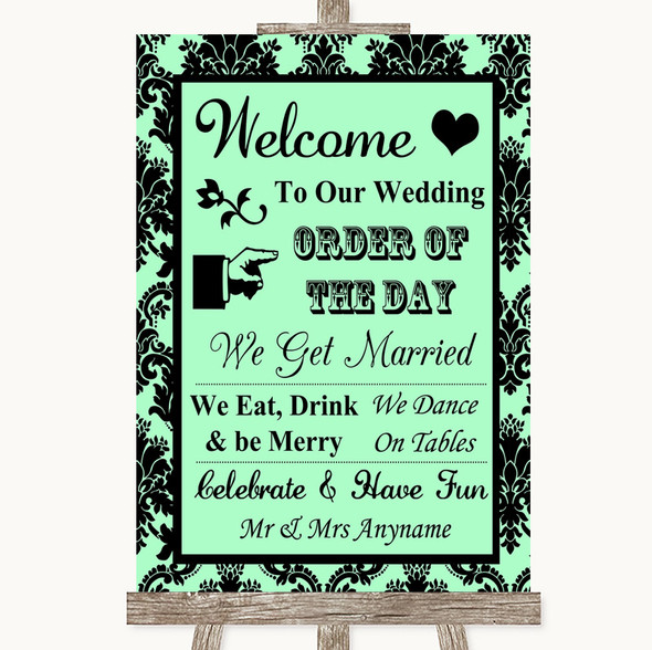 Mint Green Damask Welcome Order Of The Day Personalised Wedding Sign