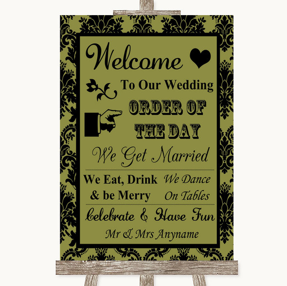Olive Green Damask Welcome Order Of The Day Personalised Wedding Sign
