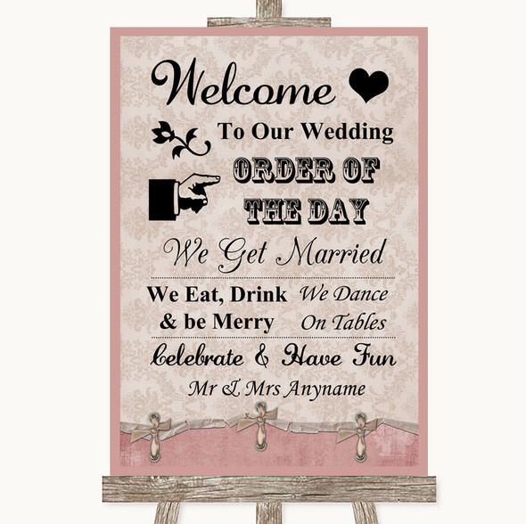 Pink Shabby Chic Welcome Order Of The Day Personalised Wedding Sign