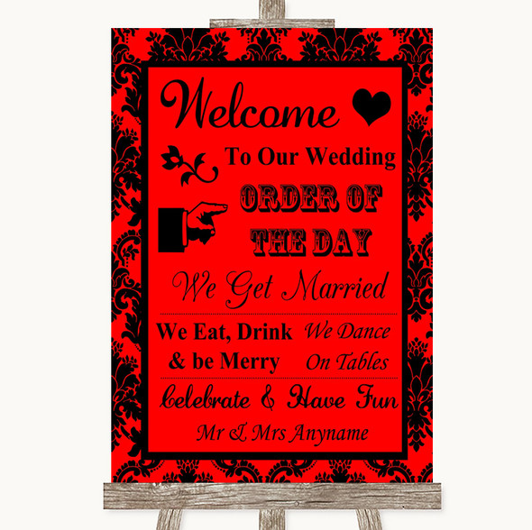 Red Damask Welcome Order Of The Day Personalised Wedding Sign