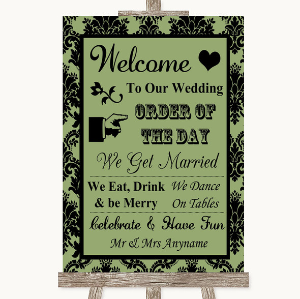 Sage Green Damask Welcome Order Of The Day Personalised Wedding Sign
