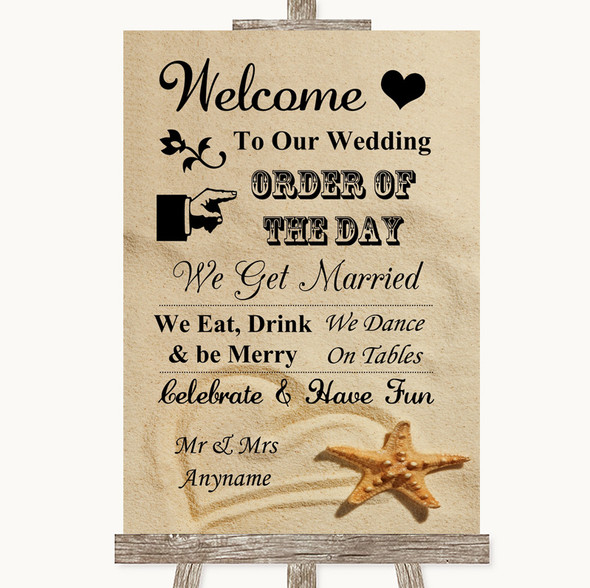 Sandy Beach Welcome Order Of The Day Personalised Wedding Sign