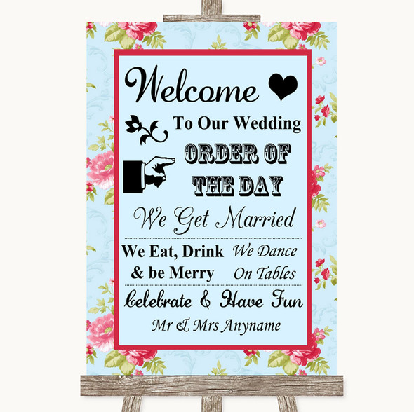Shabby Chic Floral Welcome Order Of The Day Personalised Wedding Sign