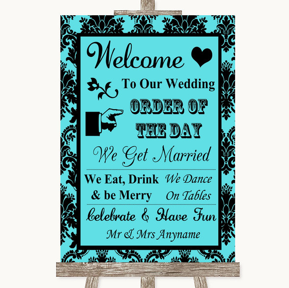 Tiffany Blue Damask Welcome Order Of The Day Personalised Wedding Sign