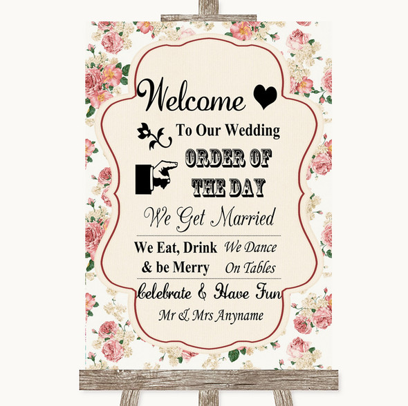 Vintage Roses Welcome Order Of The Day Personalised Wedding Sign