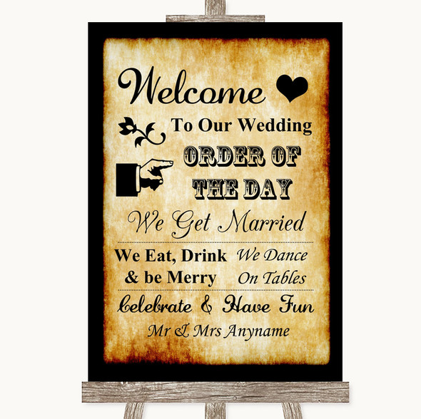 Western Welcome Order Of The Day Personalised Wedding Sign