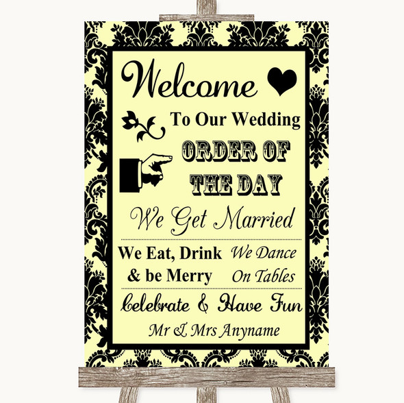 Yellow Damask Welcome Order Of The Day Personalised Wedding Sign