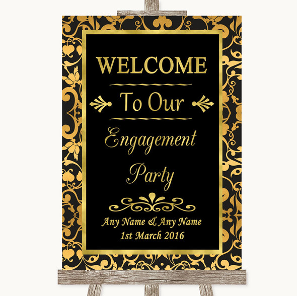Black & Gold Damask Welcome To Our Engagement Party Personalised Wedding Sign