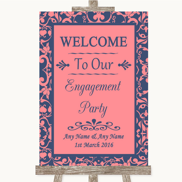 Coral Pink & Blue Welcome To Our Engagement Party Personalised Wedding Sign