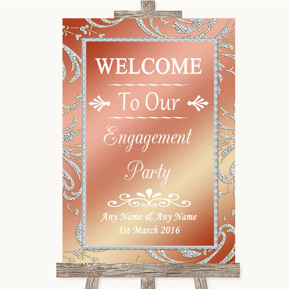 Coral Pink Welcome To Our Engagement Party Personalised Wedding Sign
