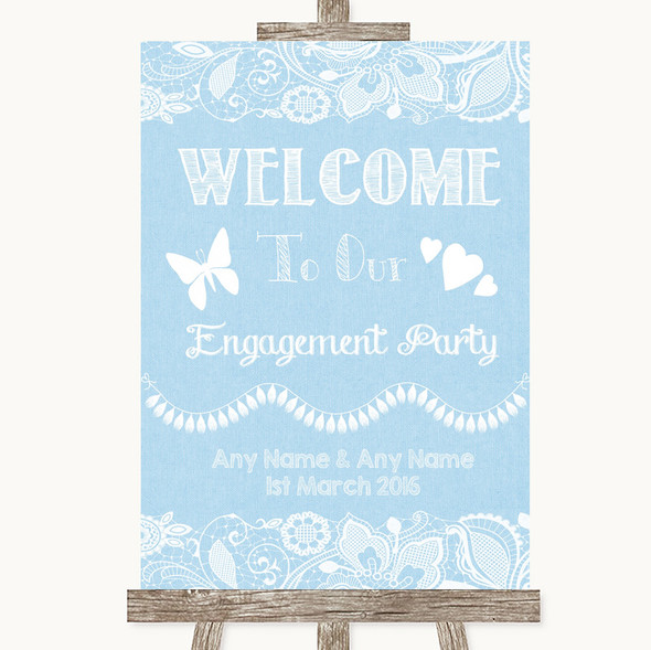 Blue Burlap & Lace Welcome To Our Engagement Party Personalised Wedding Sign