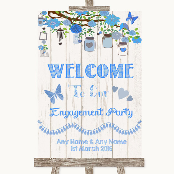 Blue Rustic Wood Welcome To Our Engagement Party Personalised Wedding Sign