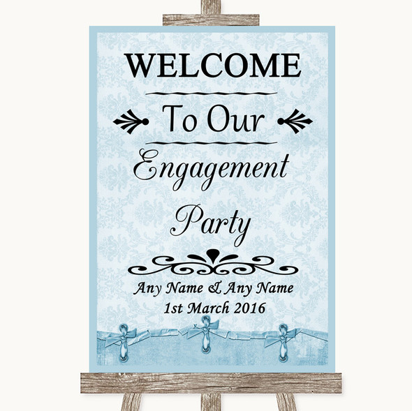 Blue Shabby Chic Welcome To Our Engagement Party Personalised Wedding Sign