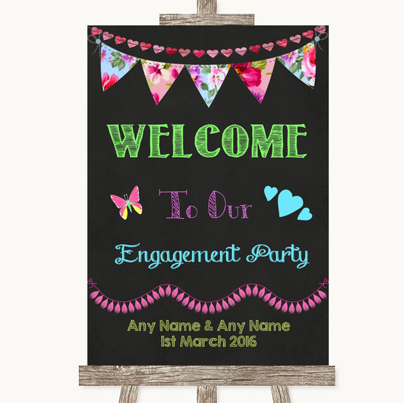 Bright Bunting Chalk Welcome To Our Engagement Party Personalised Wedding Sign
