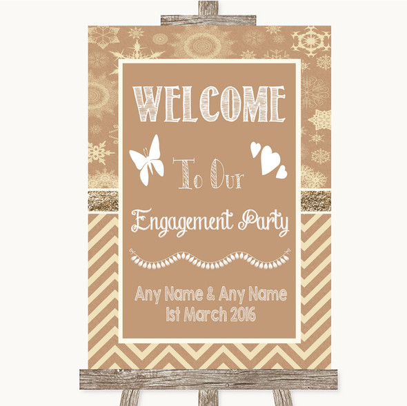 Brown Winter Welcome To Our Engagement Party Personalised Wedding Sign