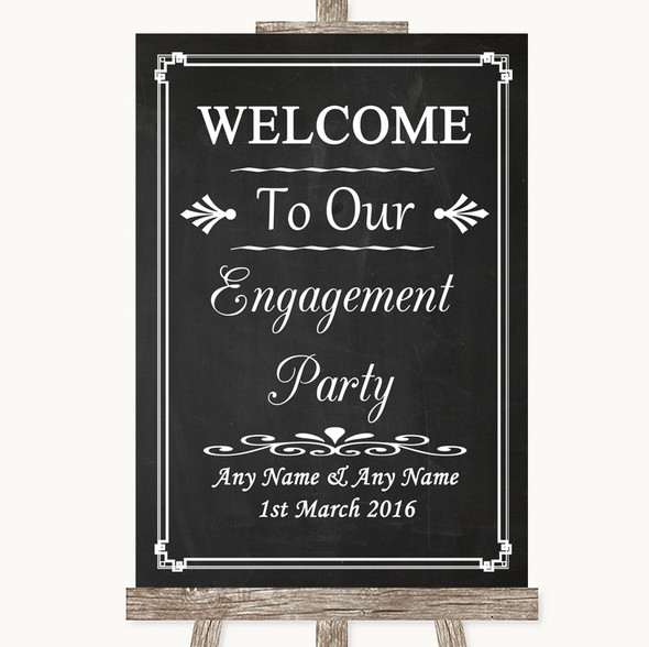 Chalk Style Welcome To Our Engagement Party Personalised Wedding Sign
