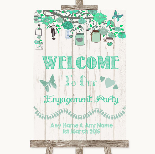 Green Rustic Wood Welcome To Our Engagement Party Personalised Wedding Sign
