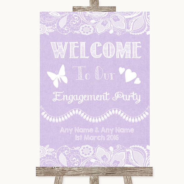 Lilac Burlap & Lace Welcome To Our Engagement Party Personalised Wedding Sign